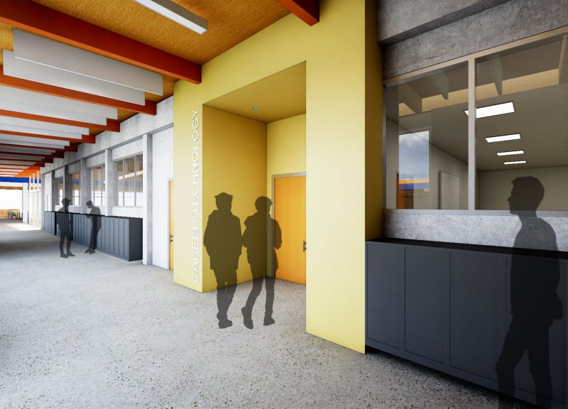 The Photo depicts a rendering of forthcoming renovated CTE spaces at Sam Barlow High School (Courtesy Opsis Architecture)